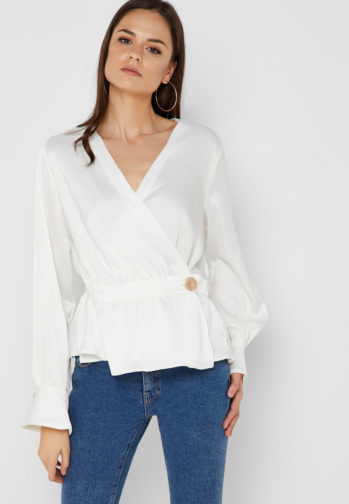 6796bc0a0394eb Shop Ella white Wrap Front Top 6558 for Women in Qatar - 13288AT36MCP