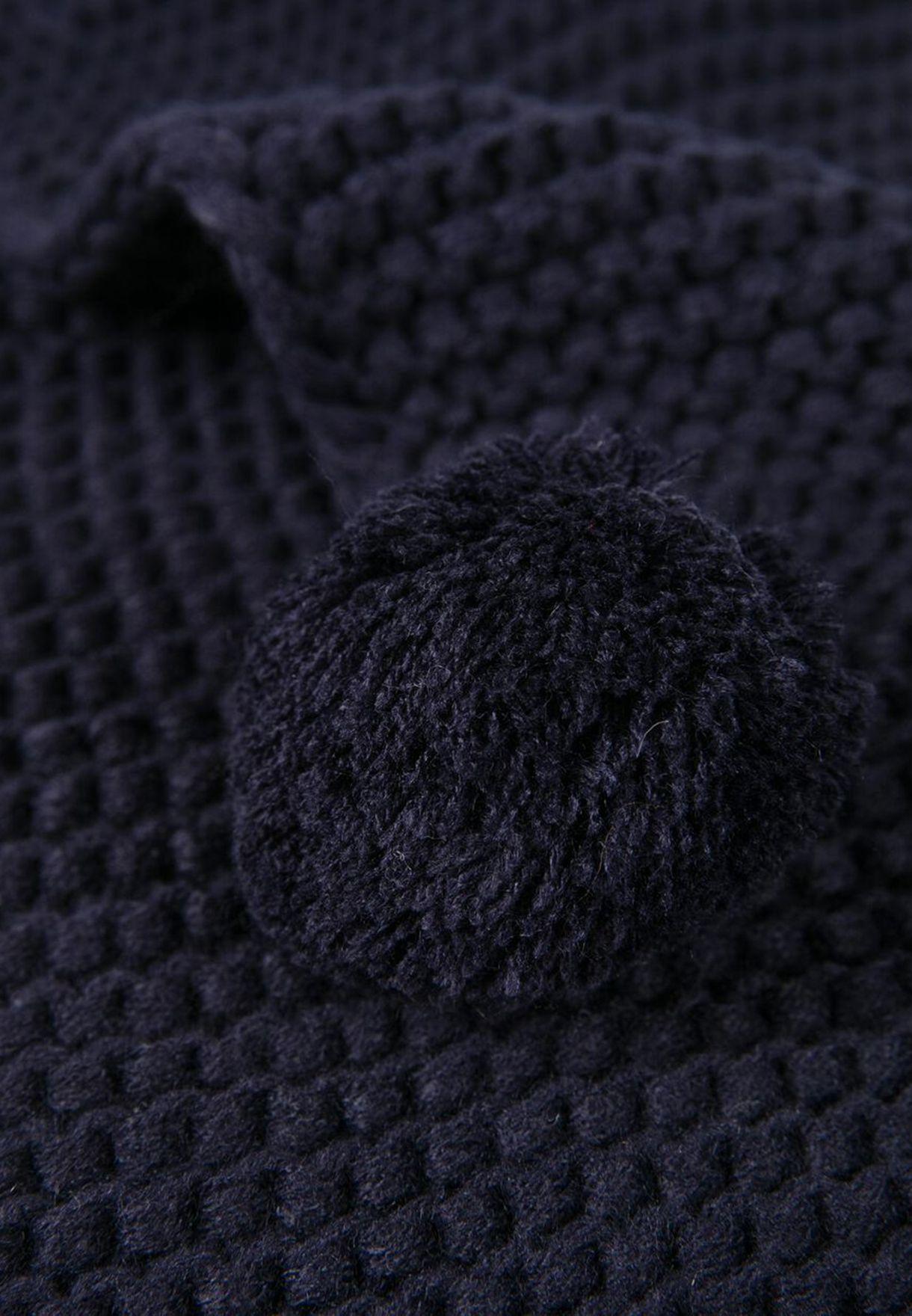 Kids Pompom Detail Knitted Scarf