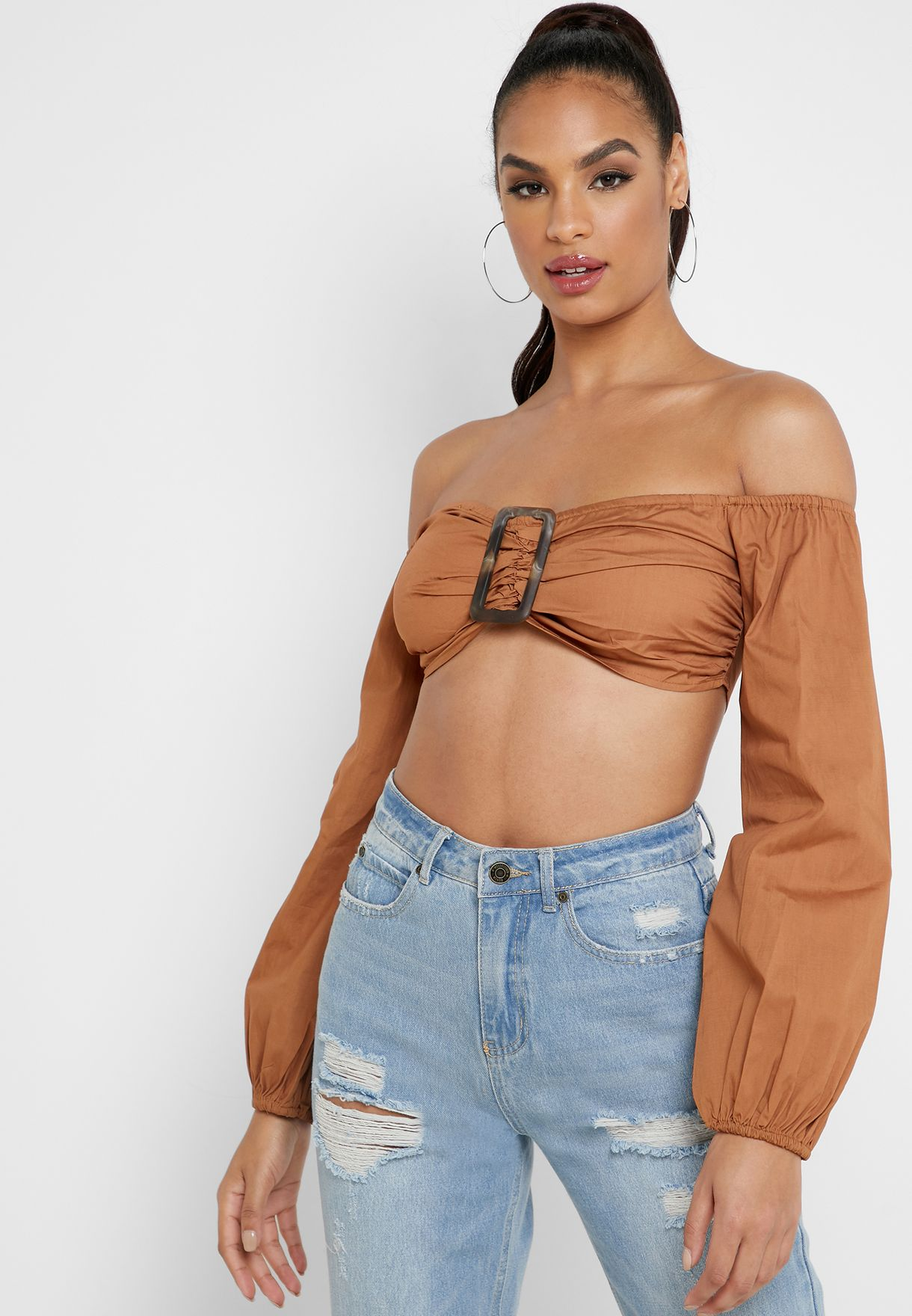Buckle Detail Bardot Crop Top