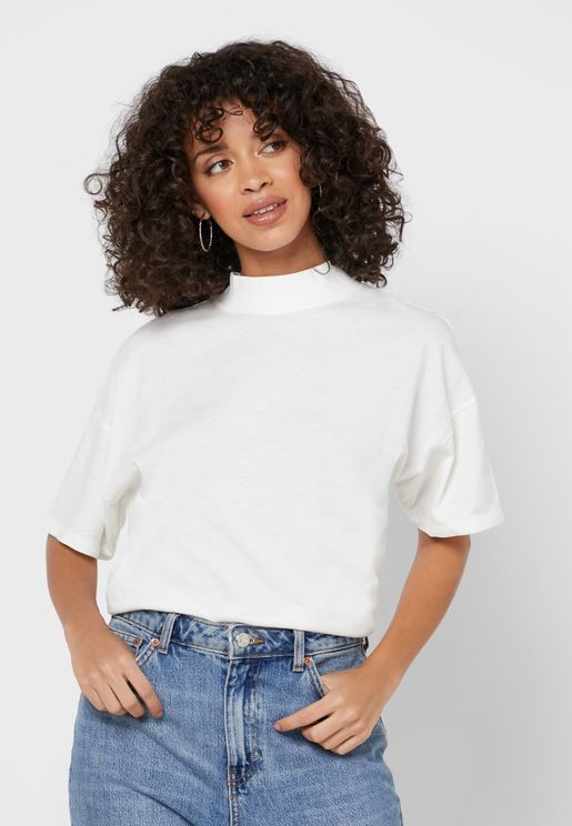 High Neck Wide Sleeve T-Shirt