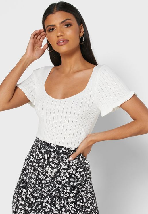 Ruffle Trim Square Neck Top
