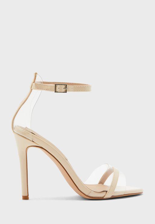 Ankle Strap Stiletto Vinyl Detail Sandal