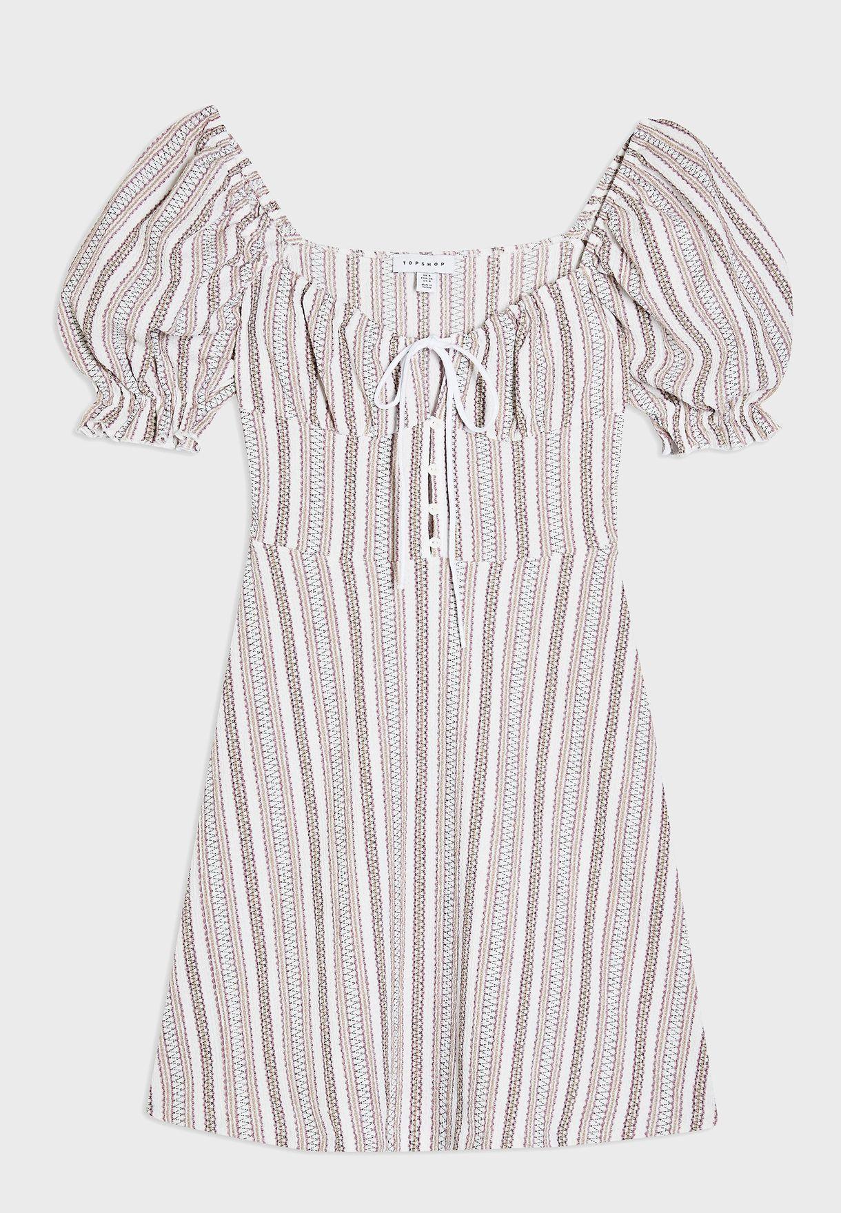 Text Stripe Tea Dress