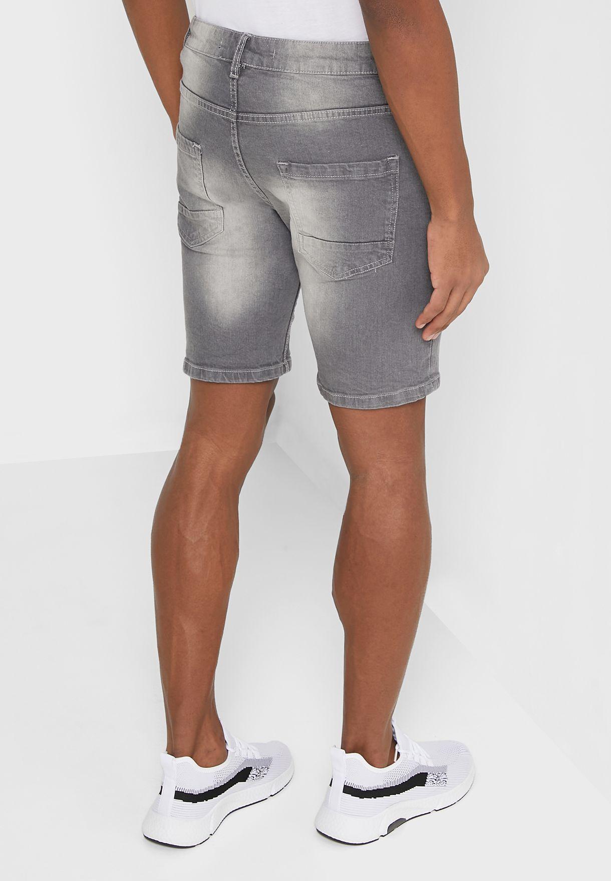 Turn Up Hem Denim Skinny Shorts
