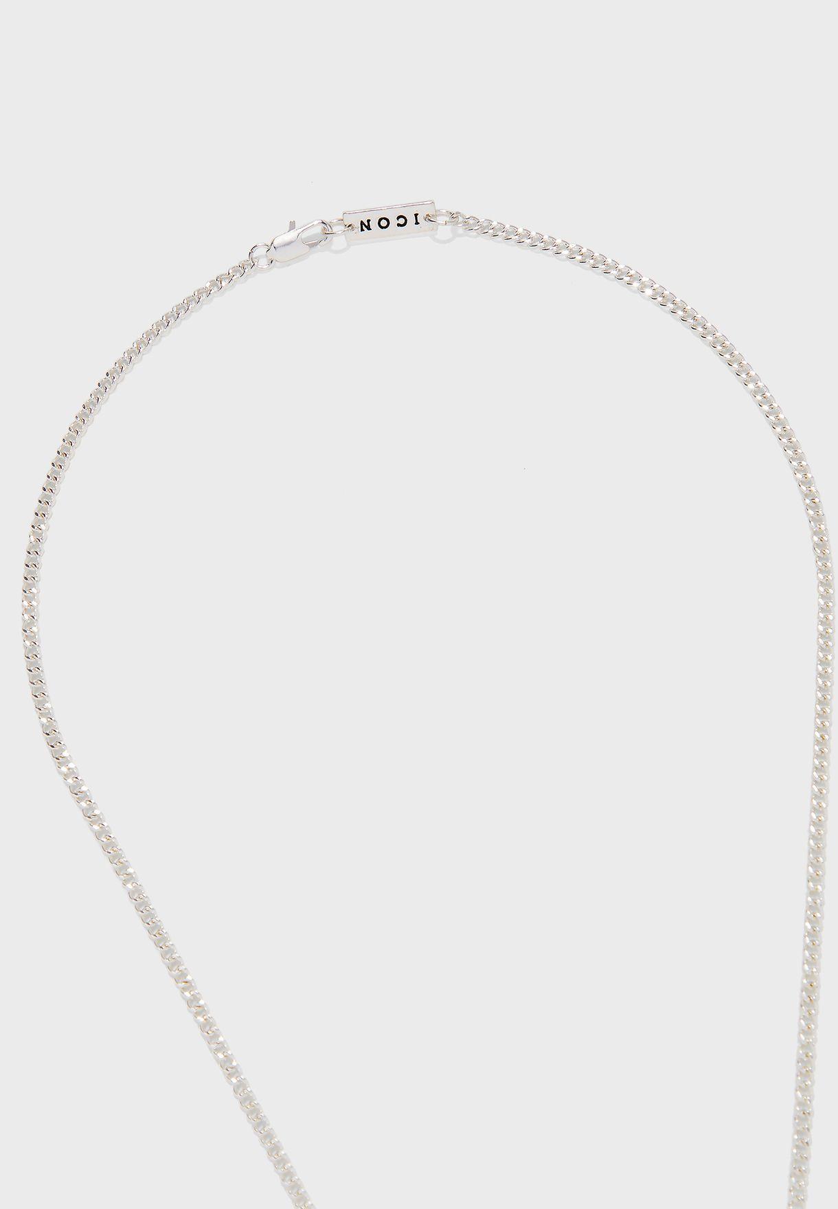 Labradorite Stone Tag Pendant Chain Necklace