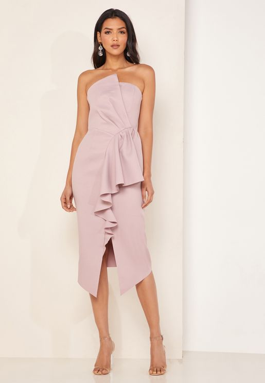 Reception Front Split Ruffle Hem Bandeau Dress