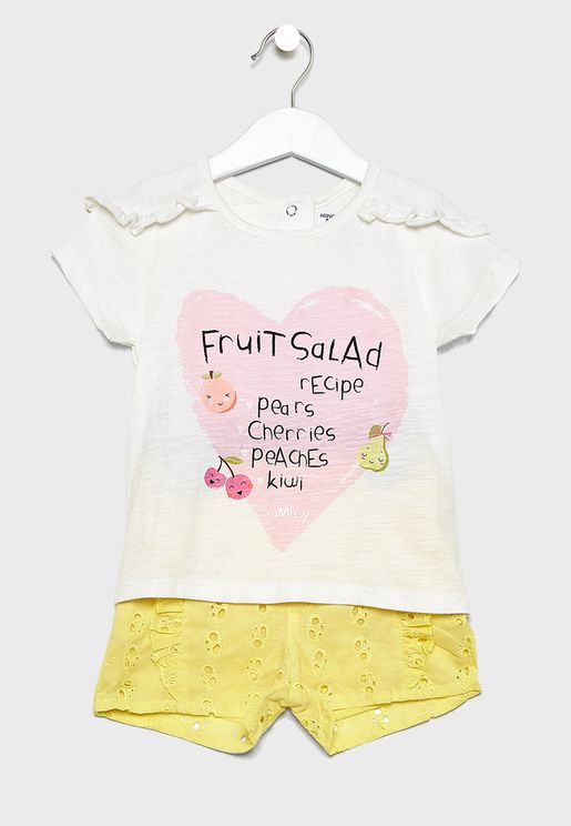 Infant Printed Top+Broderie Shorts Set