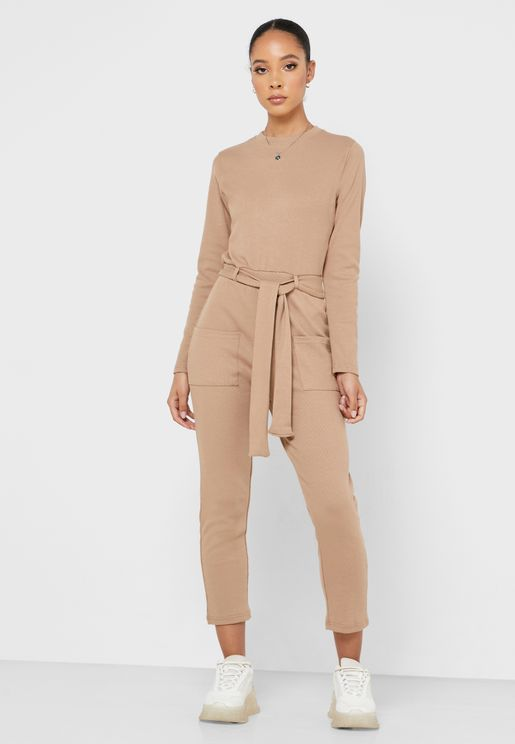 Ribbed Pocket Detail Jumpsuit