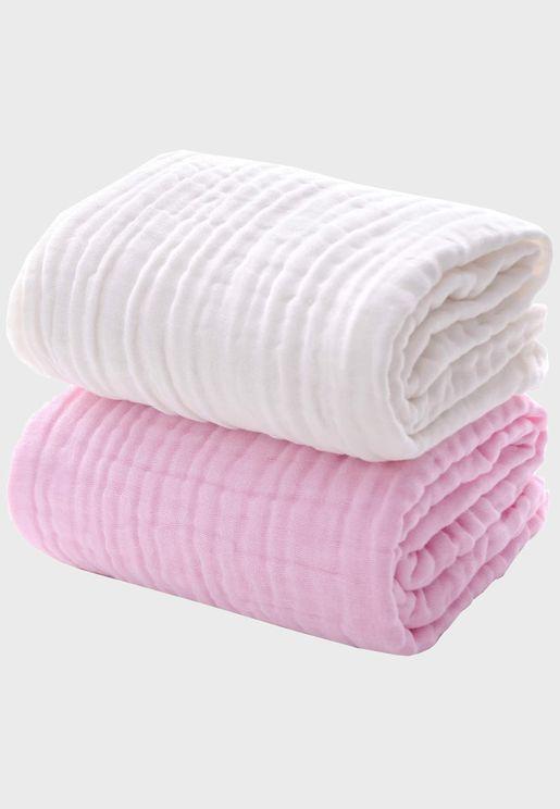 Set Of 2 Organic Muslin Bath Towels - Pink & White