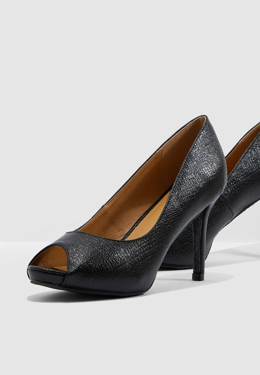 Glitter Peep Toe Pump - Black