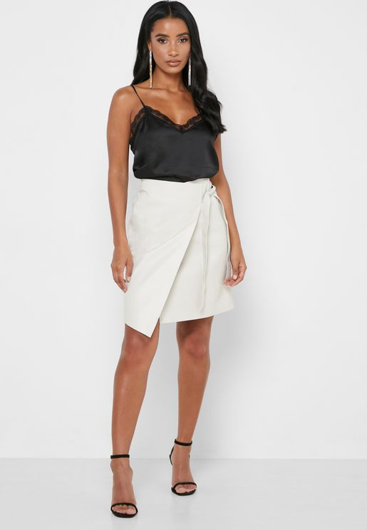 Side Tie Wrap PU Skirt