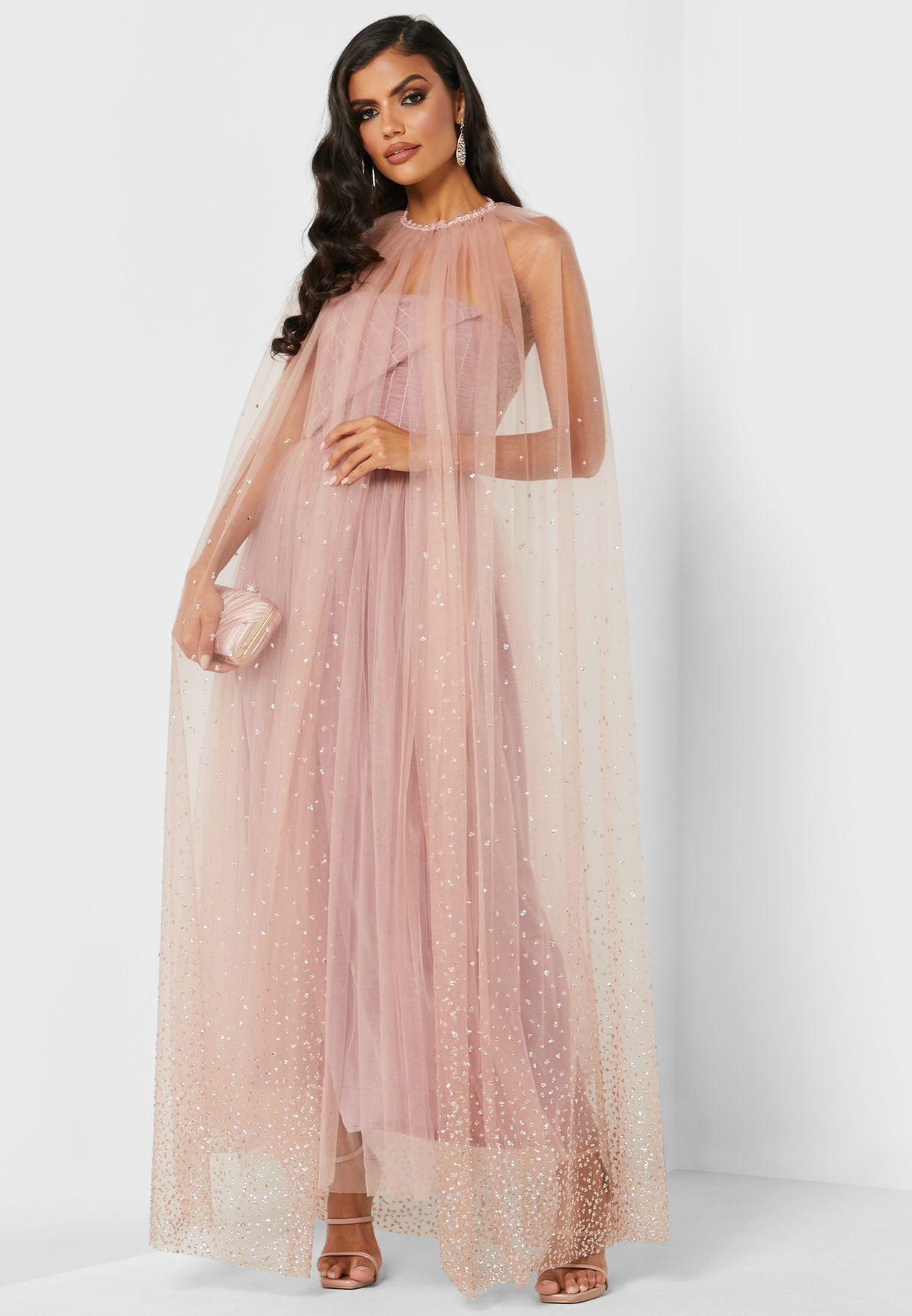 Shimmer Cape Tulle Dress
