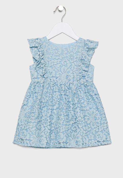 Kids Printed Pleated Dress