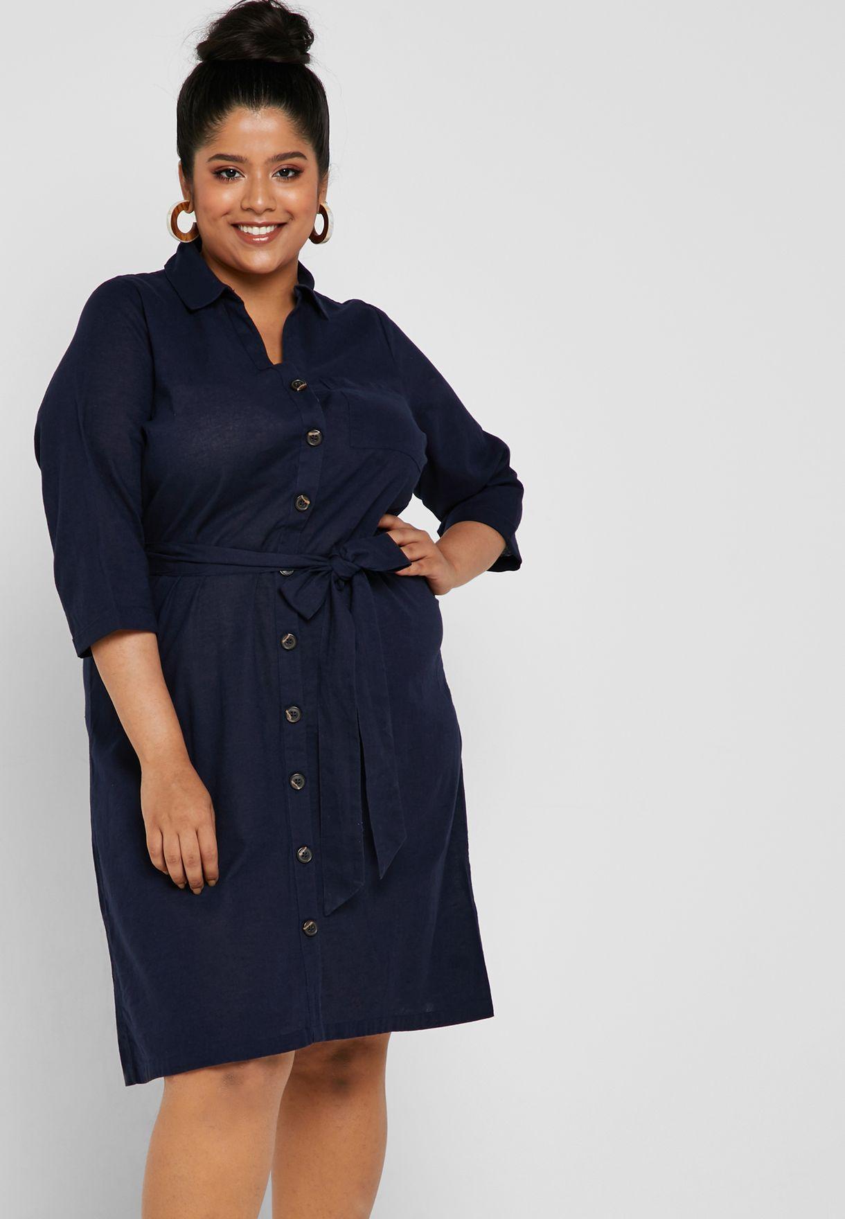 332cab44bb63f Shop Dorothy Perkins Curve navy Linen Belted Shirt Dress 3203310 for ...
