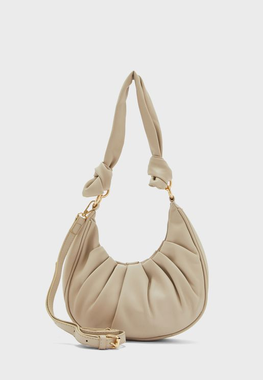Ruched Croissant Bag With Multiway Straps