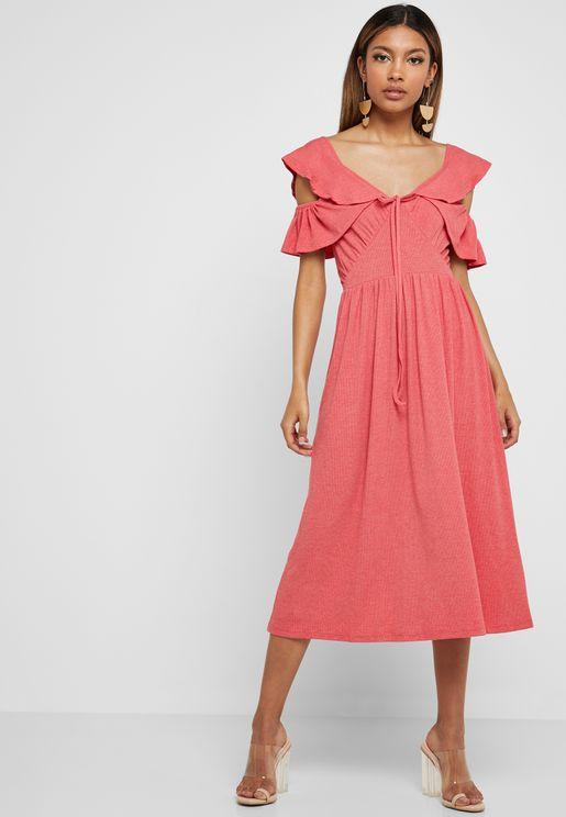 7a773cbd86 Ruffle Detail Cold Shoulder Dress