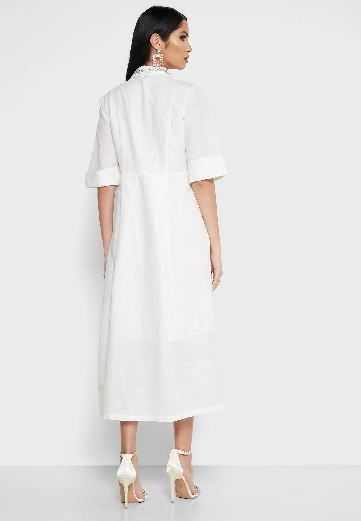 Embellished Collar Shirt Dress