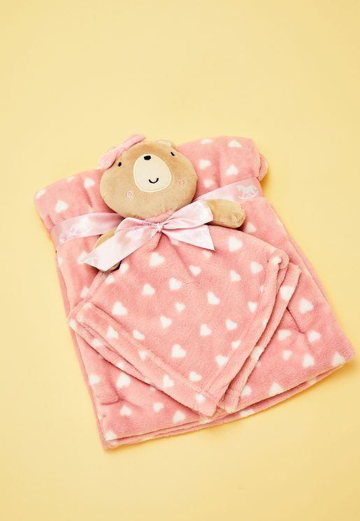 Bear Blanket Set - Pink