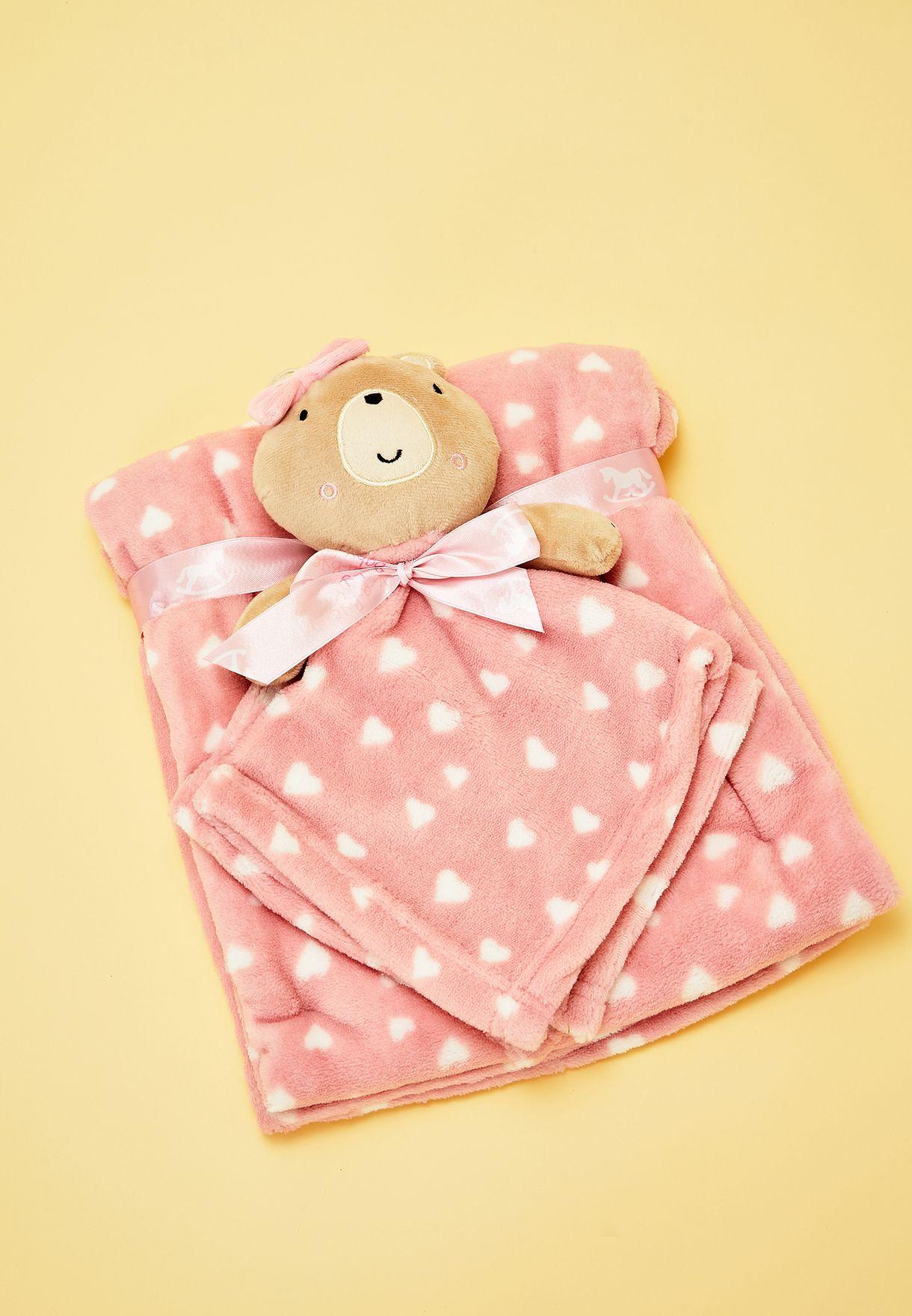 Bear Blanket Set - Pink