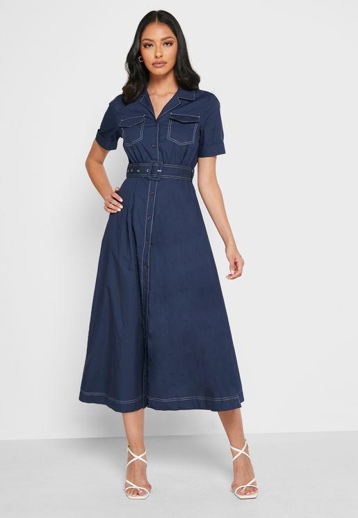 Button Through Belted Dress