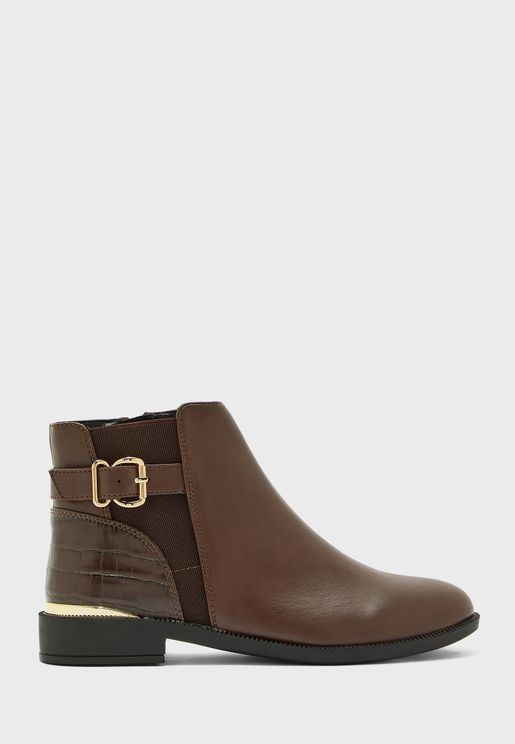 Mila Buckle Detail Ankle Boot