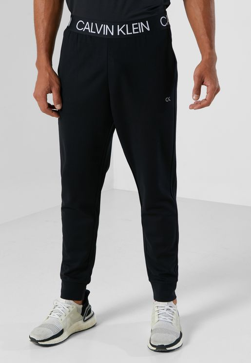 Logo Waist Knit Cuffed Sweatpants