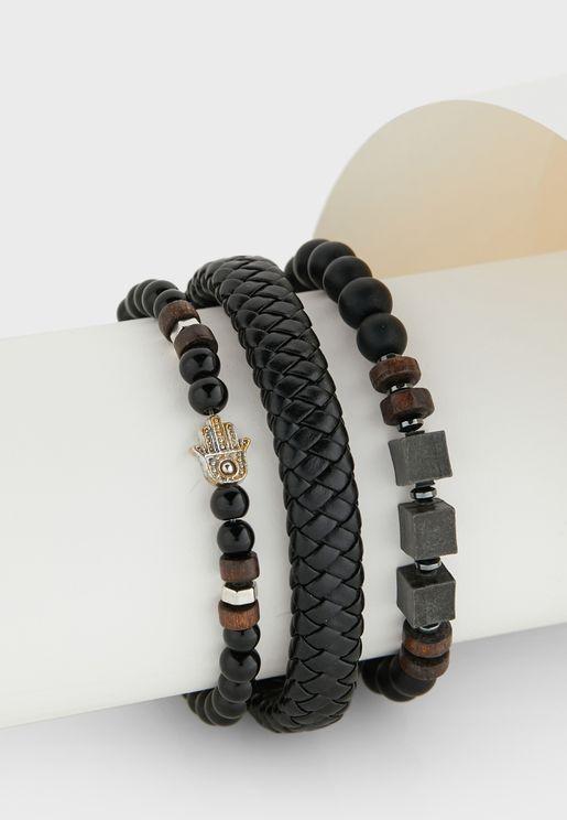 3 Pack Plaited Hamsa Bracelet Set