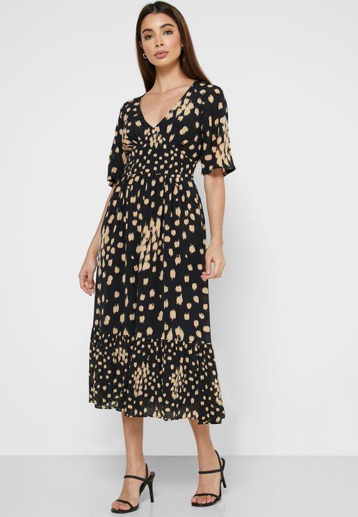 Geriel Angel Sleeve Printed Dress