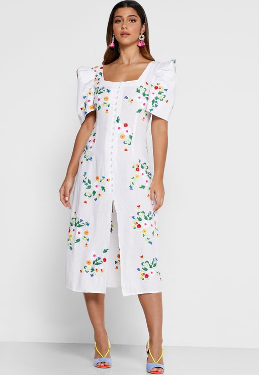 Marisol Square Neck Printed Dress