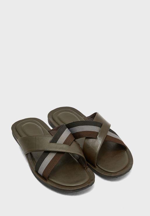 Webbing Cross Strap Sandals