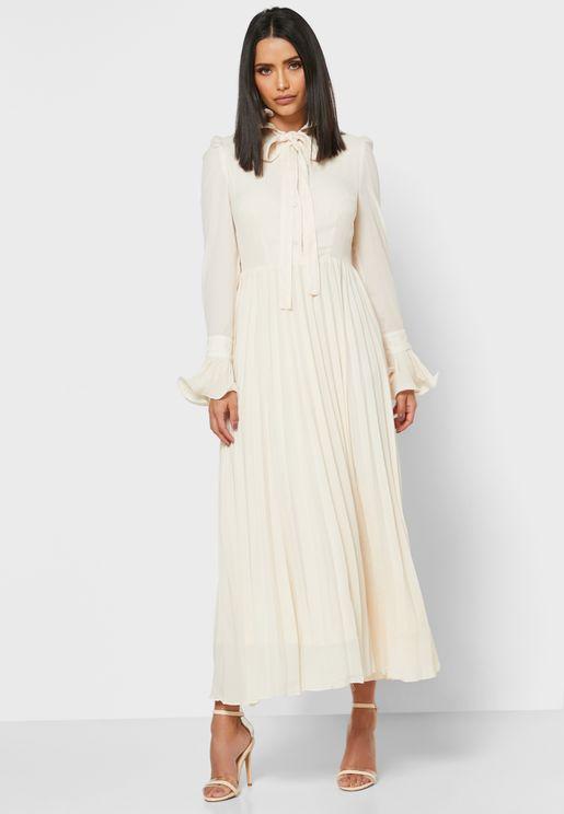 فستان ميدي مكشكش بأربطة عنق