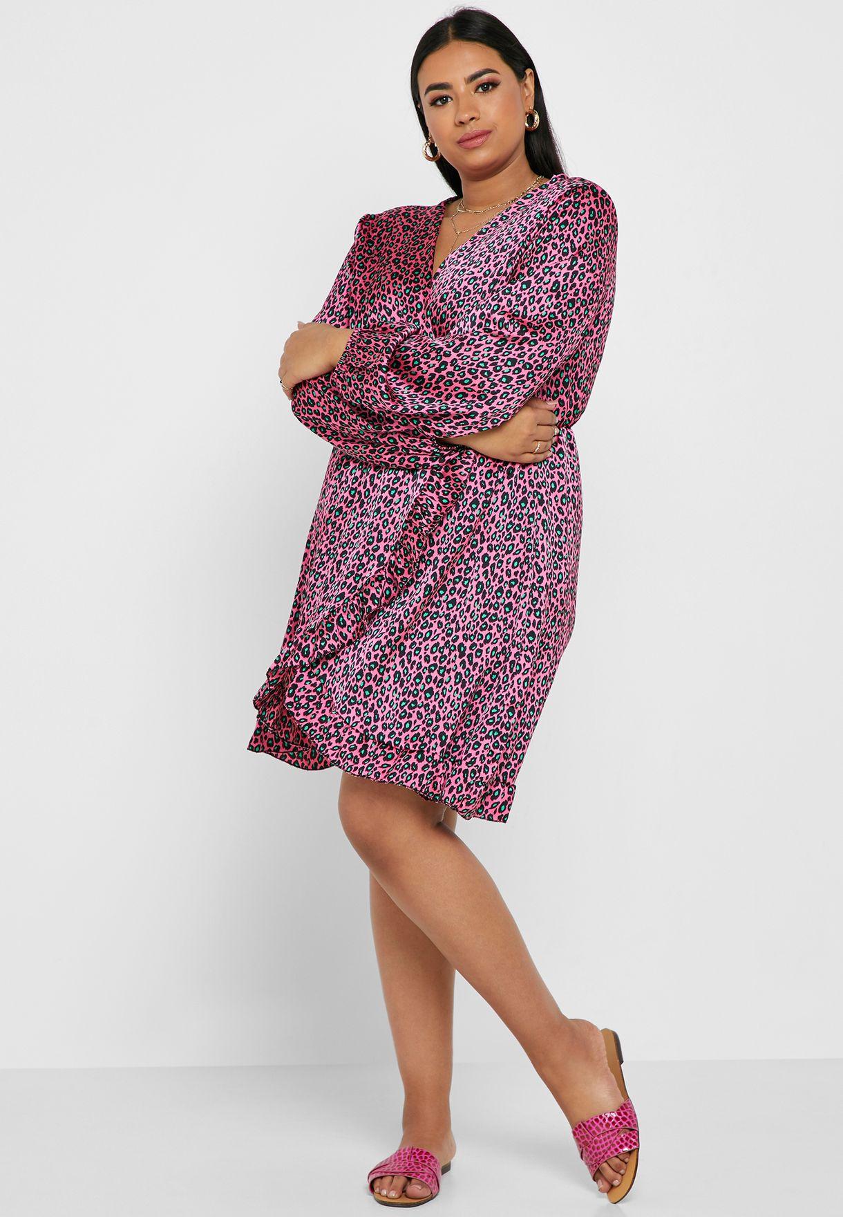 فستان ميدي مطبع بتصميم ملفوف