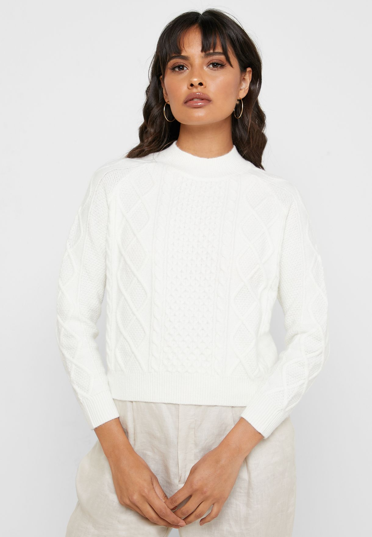 High Neck Cable Knit Cropped Sweater