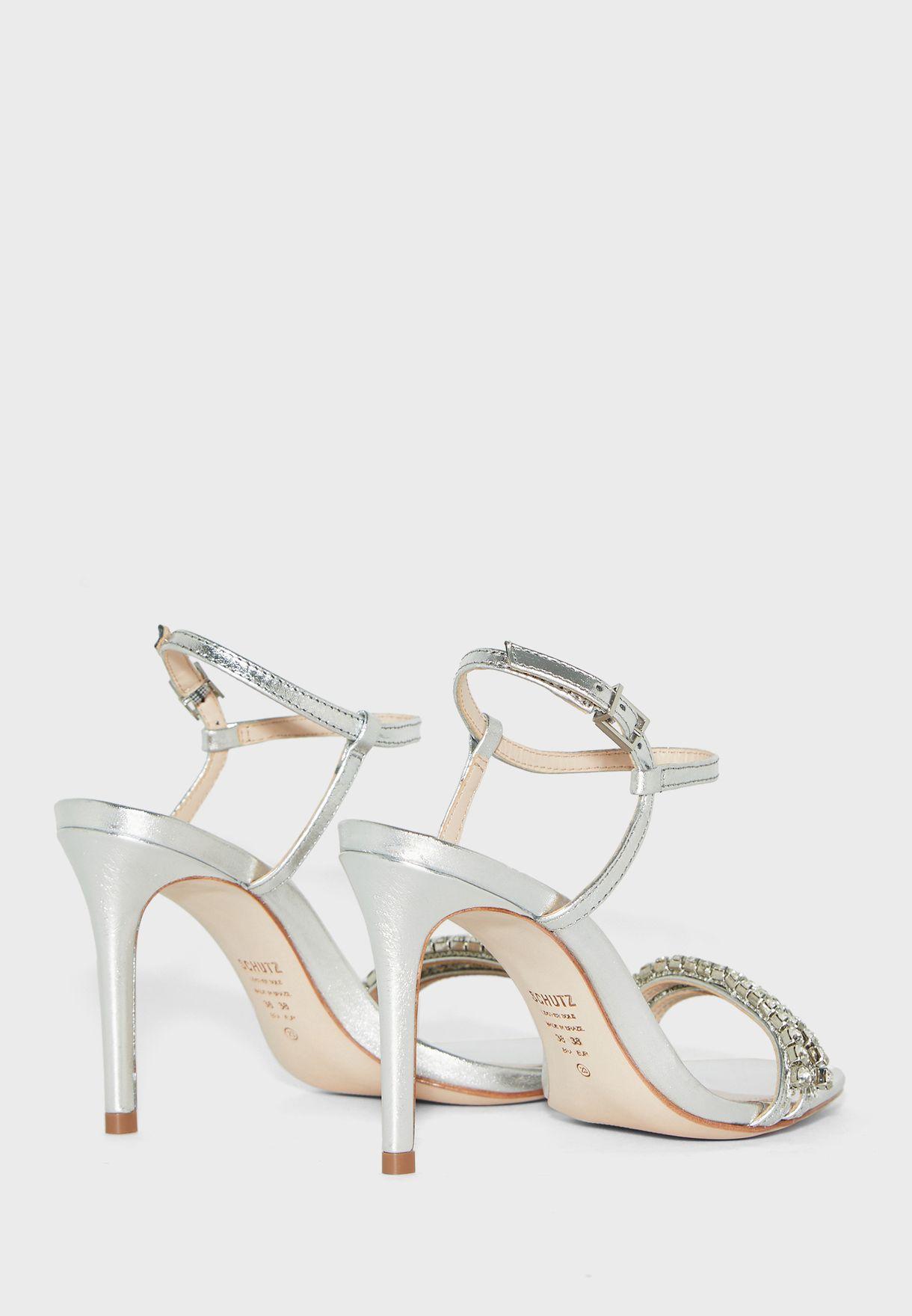 Stud Detail Ankle Strap Sandal - Silver