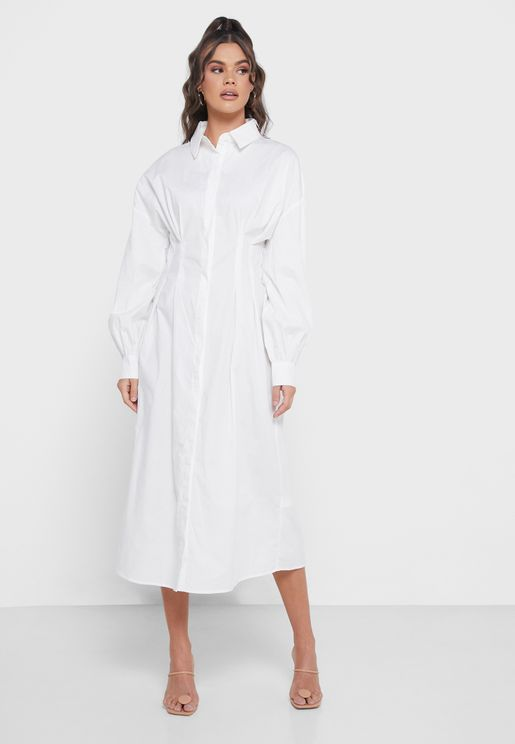 Pleated Midi Shirt Dress