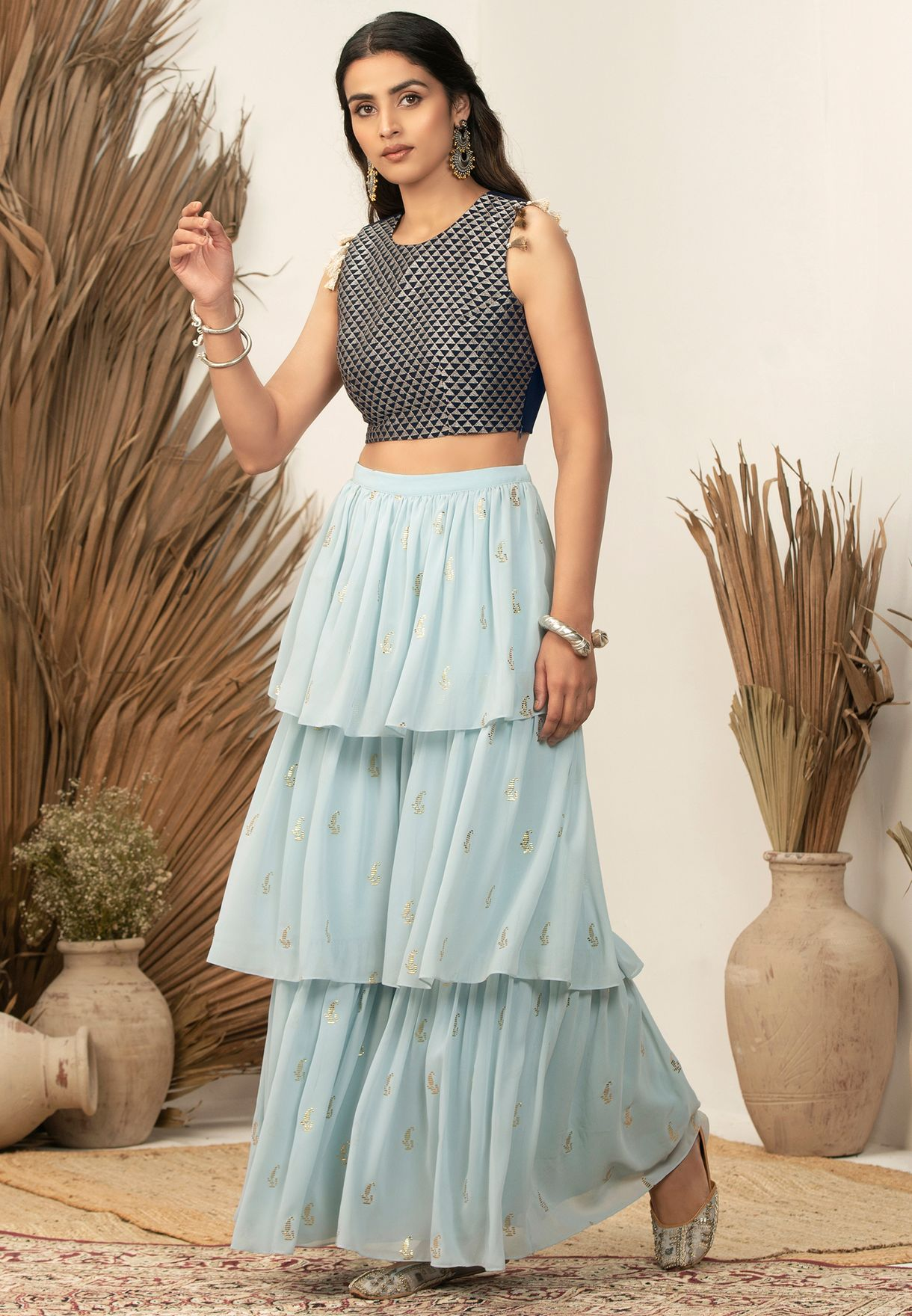 Indya X Payal Singhal Navy Triangle Embroidered Crop Top