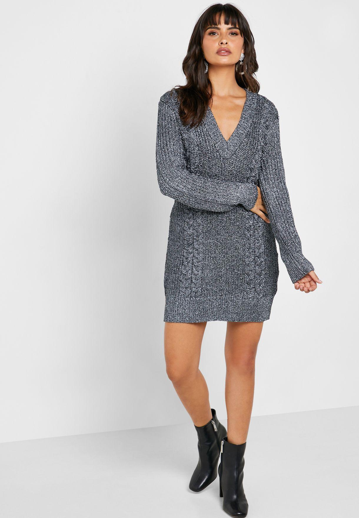 V-Neck Cable Knit Sweater Dress