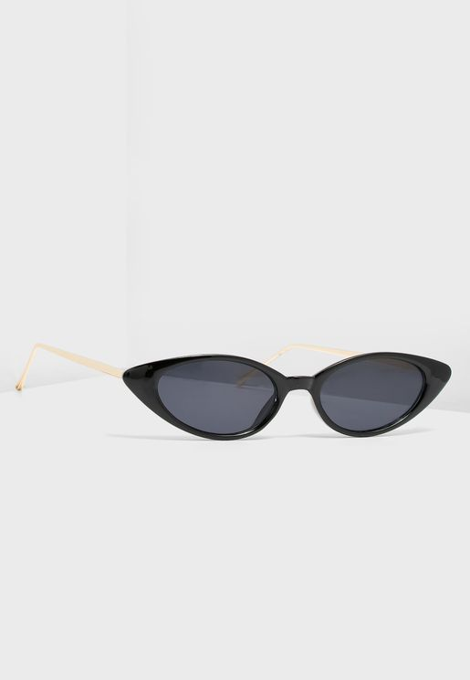 Metal Arm Detail Cat Eye Sunglasses