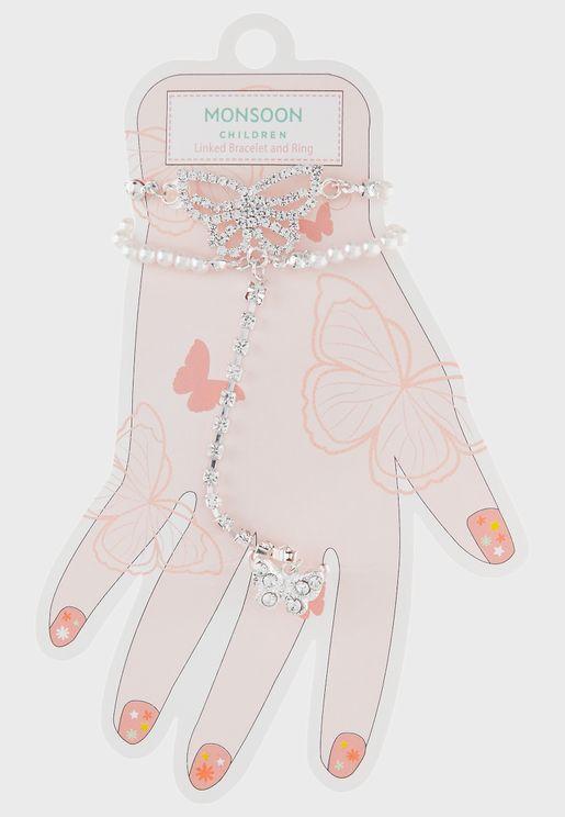Kids Butterfly Diamante Bracelet