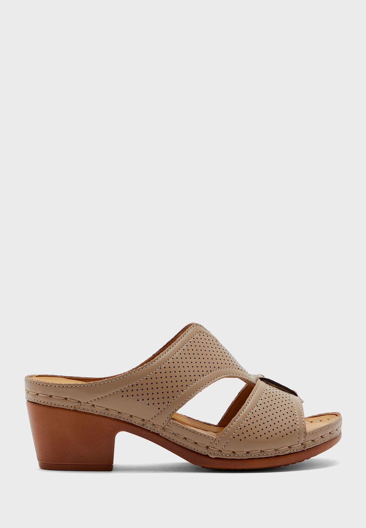 Wide Strap Mid Heel Sandal