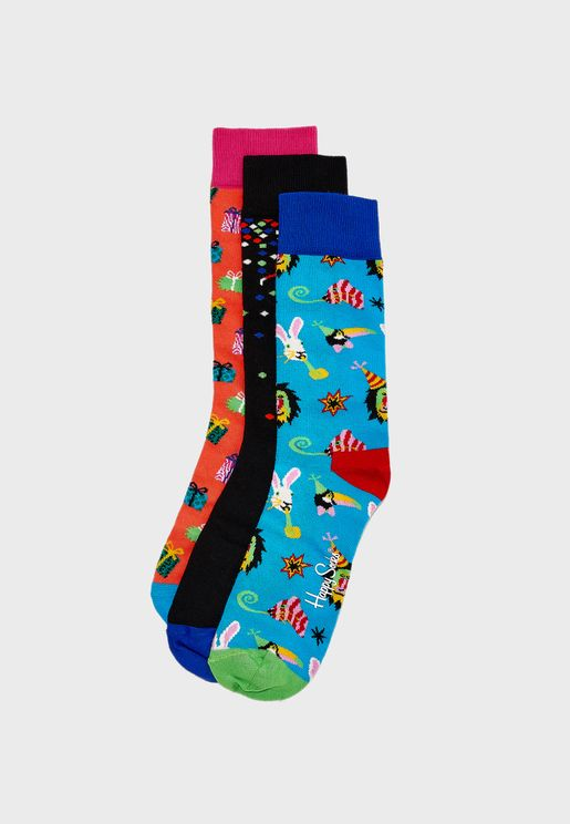 3 Pack Happy Birthday Party Animal Crew Socks