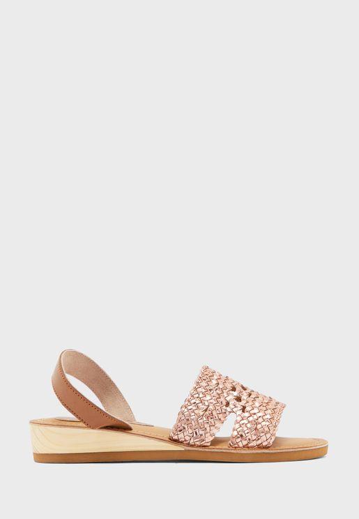 Leather Weave Back Strap Sandal