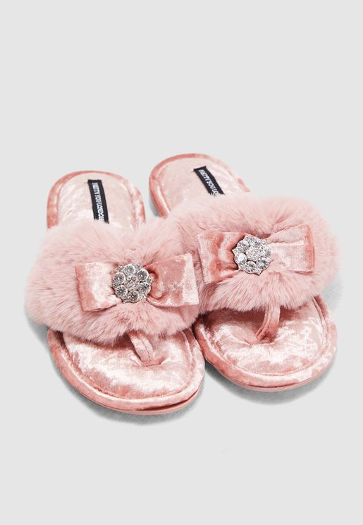 Faux-Fur Toe-Post With Diamante Embellishment