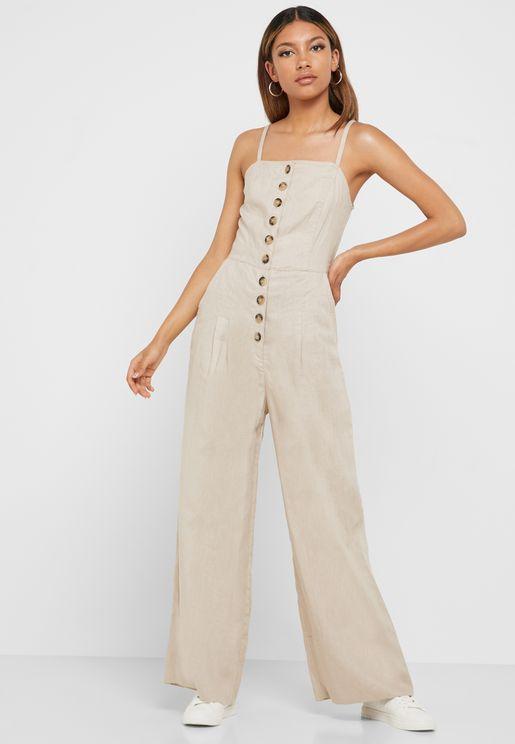Button Down Wide Leg Jumpsuit