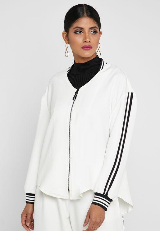 Zip Through Side Striped Jacket