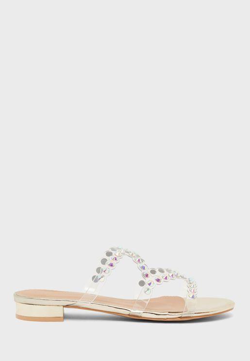 Studded Detail Low Heel Sandal