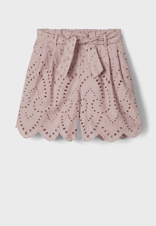 Kids Perforated Belted Shorts