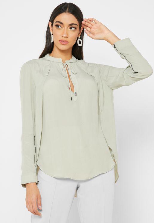 قميص طويل بأساور مع سحابات
