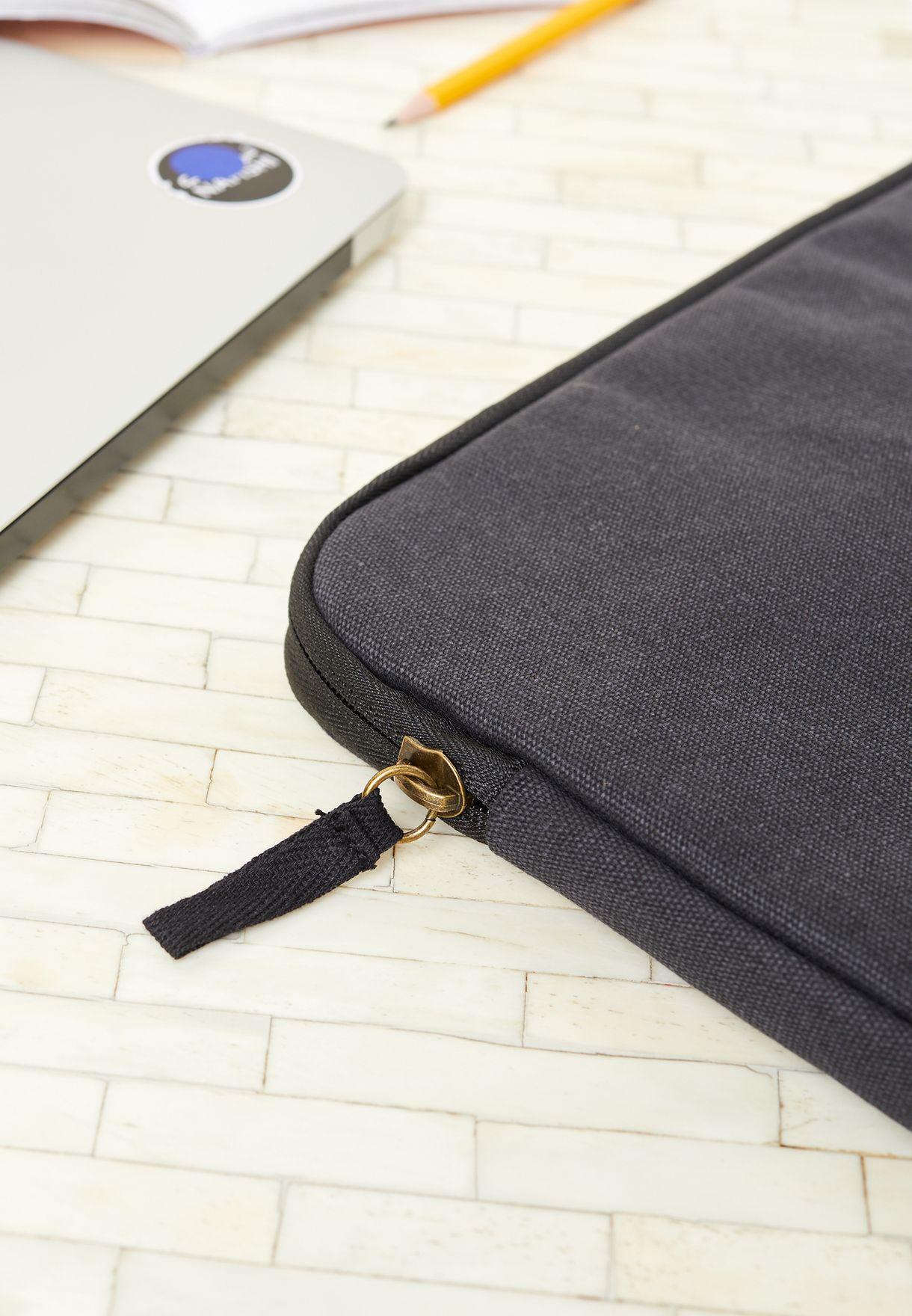 "13"" Washed Black Canvas Laptop Case"