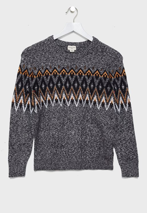 Kids  Juquard Crew Sweater